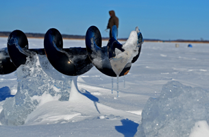 image of ice auger on ice