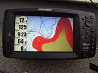 Image of Humminbird showing shallow water inside turn.