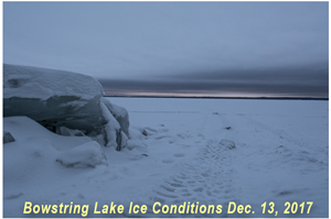 image of ice shelters on Bowstring Lake