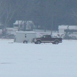 image of pickup truck on the ice