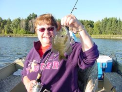 Sharon Karels has what it takes to catch nice Bluegills in the Grand Rapids Area