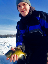 image of ice fisherman showing bluegill