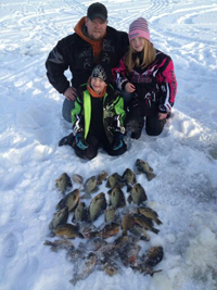 Ice Fishing Panfish on Snow
