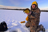 image of Jon Thelen hold Bluegill on ice