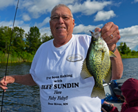 image of Mike Nolan with big Crappie caught in Cutfoot Sioux