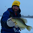 image of Jeff Samsell with big crappie on ice