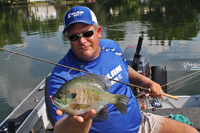 Chad Peterson with giant Bluegill