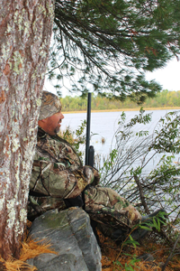 image of Jeremy Taschuk in duck blind on Rainy Lake