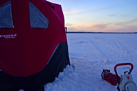 image of portable Eskimo shelter on ice