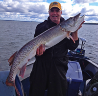 image of Steve Parker with the 2nd of 2 Cass Lake Muskies