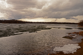 image of ice out on Pooles Bay Lake Pokegama