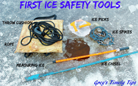 image of safety tools for first ice