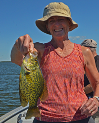 image of Jan Bopp holding big Crappie