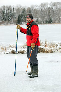 image of Blake Liend with safety gear for ice fishing
