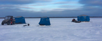 image of portable ice shelters on Red Lake