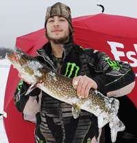 image of ice fisherman with pike