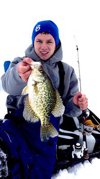 image of Tyler Mohr with big Crappie