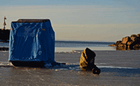 image of portable ice shelters at Lake Superior