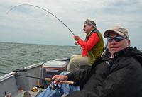 image of Dick Williams and Paul Kautza fishing on Leech Lake