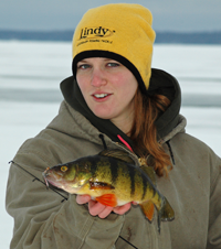 image of Annalee Sundin with Jubo Perch on ice
