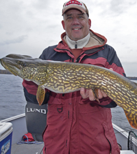 image of Chuck Wailor holding big Northern Pike