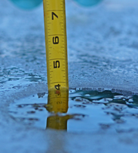 image of ruler showing ice thickness
