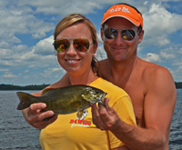 image of Mike and Jamie Roberts with Smallmouth Bass