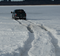 image of truck travelling on ice
