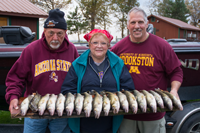 image of Ed Goettl and Joyce Damon with limits of Walleyes