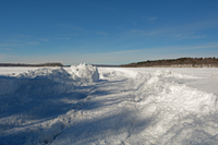 image of deep snow on ice covered lake