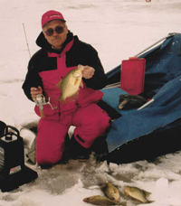 image of terry wickstrom with crappies