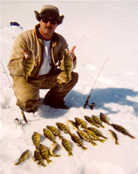 image of Craig Brown on Lake Winnie with Perch