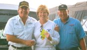 Sharon Stuckey accepts the Big Walleye award after a nice day on the lake