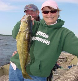 Plenty of Walleyes and a nice one like this made it a good day to be Jill