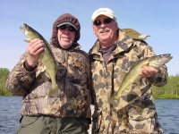 Bill Linder and Roger Will with pair of Walleyes